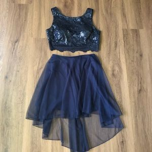 Two Piece Navy sequin top dress